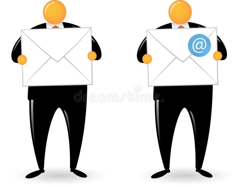 Orange Hauptmann Holding-Post und eMail lizenzfreie abbildung