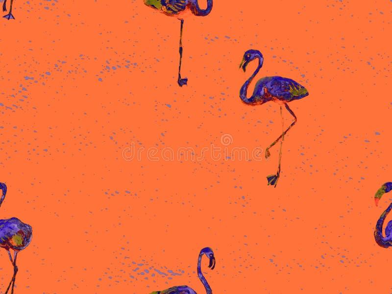 Orange hawaiisches nahtloses Muster des großen Flamingos vektor abbildung
