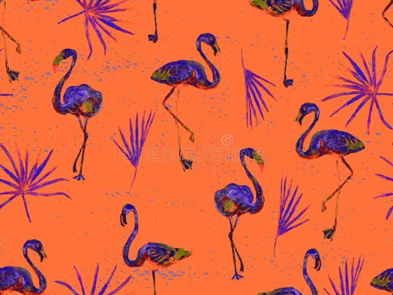 Orange hawaiisches nahtloses Muster des gro?en Flamingos vektor abbildung