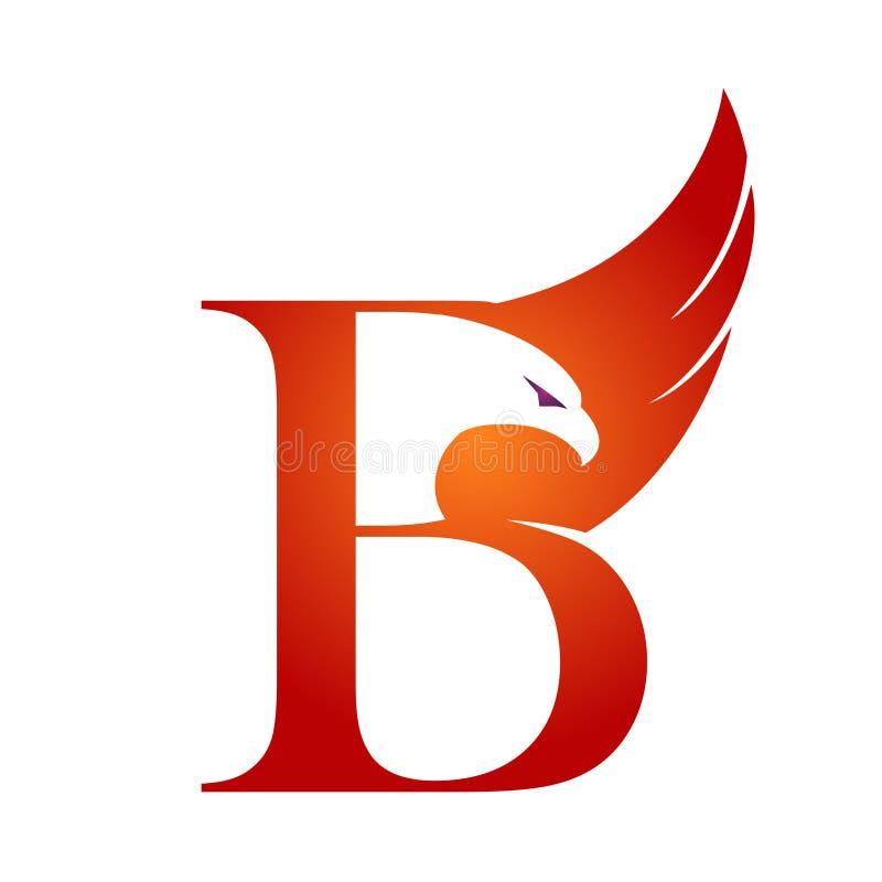 Orange Hawk Initial B för vektor logo stock illustrationer