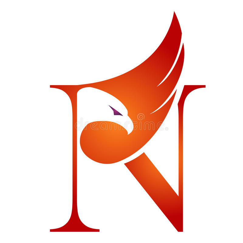 Orange Hawk Initial N för vektor logo royaltyfri illustrationer