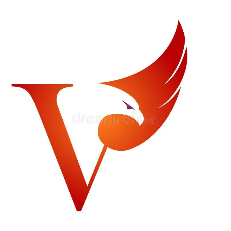 Orange Hawk Initial V för vektor logo stock illustrationer