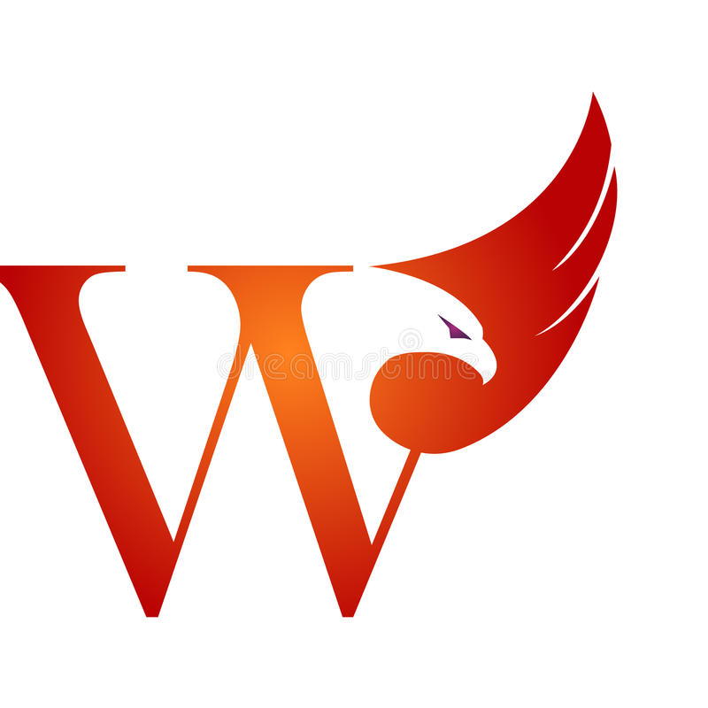 Orange Hawk Initial W för vektor logo royaltyfri illustrationer