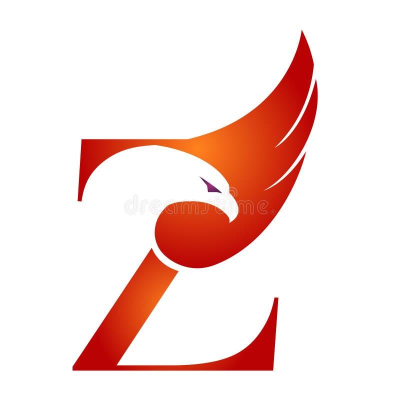 Orange Hawk Initial Z för vektor logo vektor illustrationer