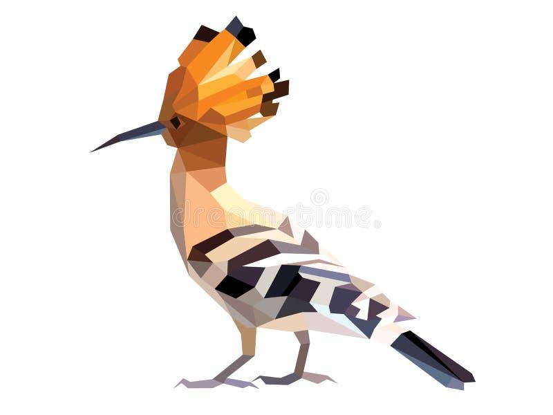 Orange head Hoopoe low polygon isolated, brown bird. Orange Hoopoe low polygon isolated on blank background, brown bird big head crystal design illustration stock illustration