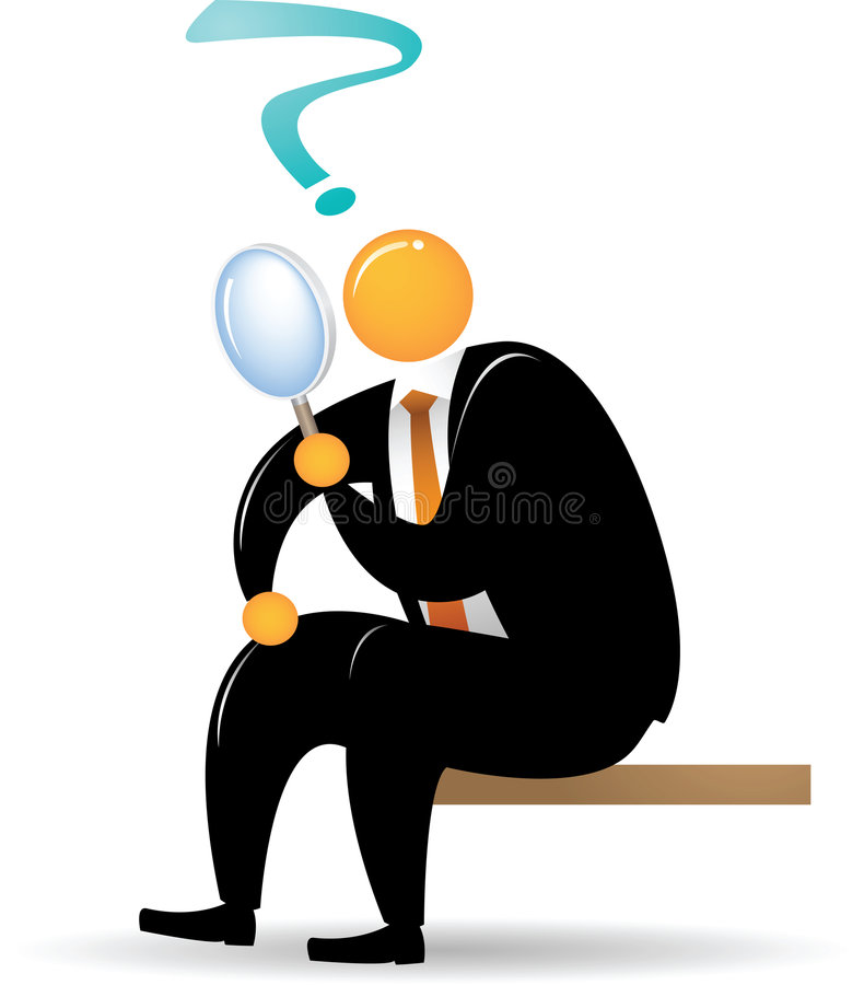 Orange Head Man sitting and using magnifying glass vector illustration