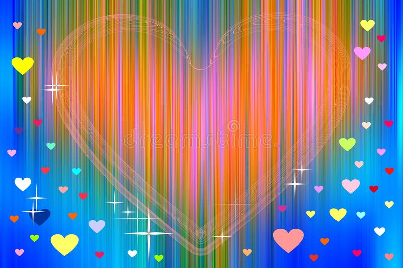 Orange heart and colorful hearts on abstract background royalty free illustration