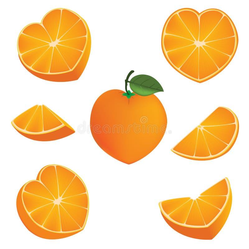 Orange heart shape royalty free illustration