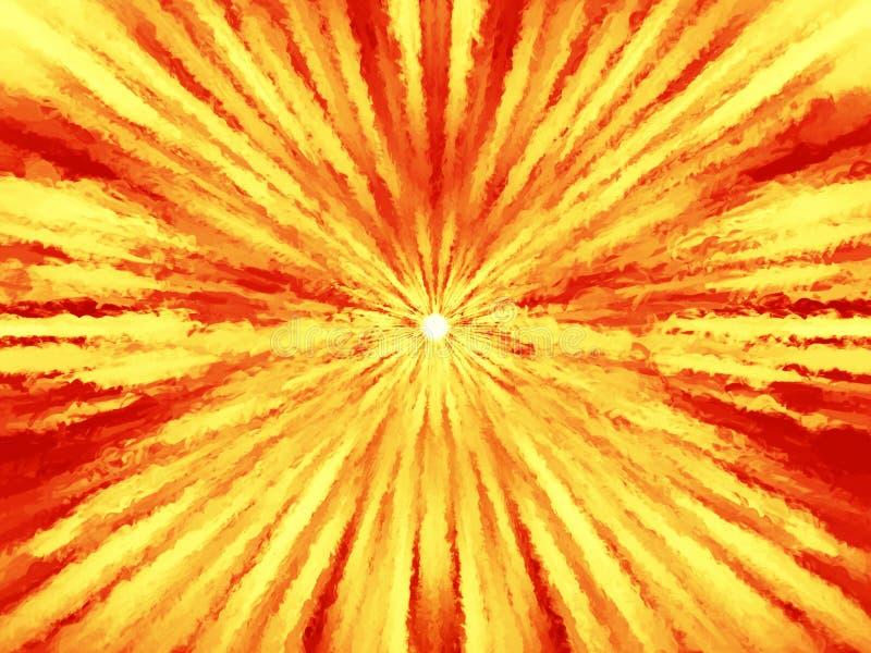 Orange heiße Sonne mit dem Lichtstrahlmalen vektor abbildung