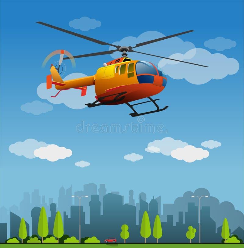 Orange Helicopter flight. Vector illustration, orange helicopter flight on the city royalty free illustration