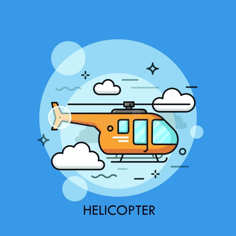 Orange helikopterflyg till och med moln vektor illustrationer