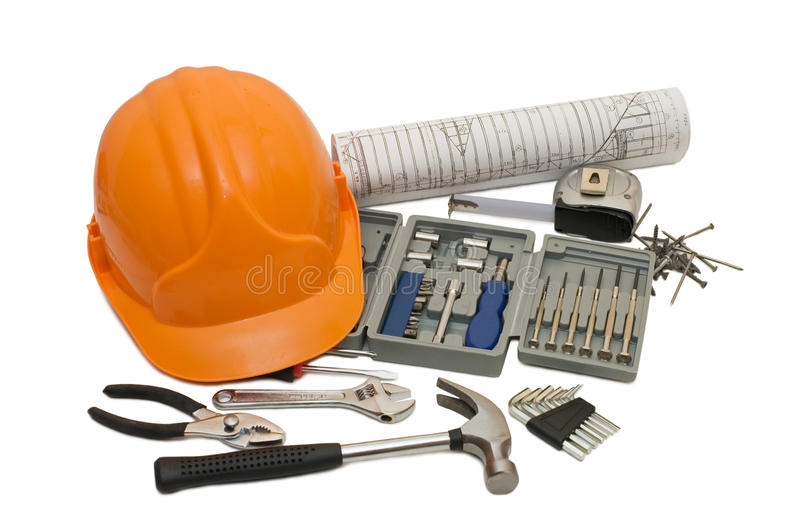 Orange Helmet And Different Tools Isolated Stock Photo