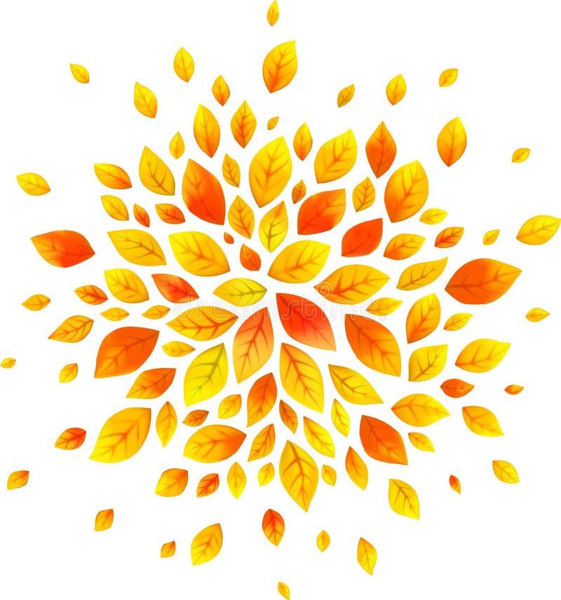 Orange Herbstlaub vector ringsum das Spritzen, das auf Weiß lokalisiert wird lizenzfreie abbildung