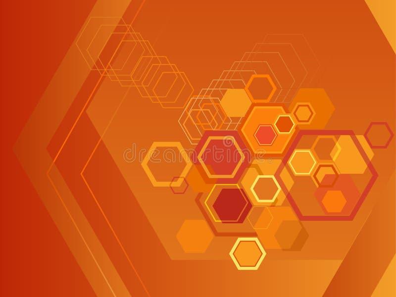 Orange hexagon background royalty free illustration