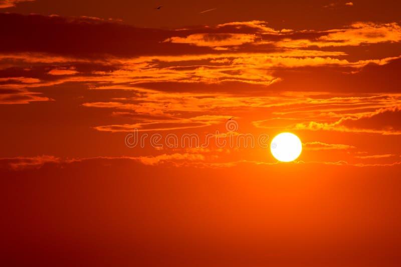 Orange himmelbakgrund för solnedgång på aftonen royaltyfri foto
