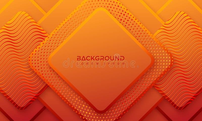 Orange Hintergrund mit Art 3D Ractangle-Hintergrund mit einer Kombination von Punkten und von Linien Hintergrund des Vektor Eps10 lizenzfreie abbildung