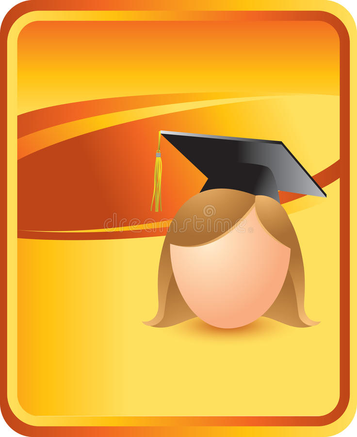 Orange Hintergrundfrauabsolvent lizenzfreie abbildung