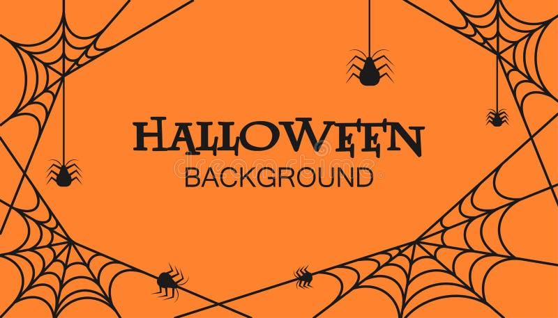 Orange Hintergrundkunst Halloween-Feier Einladungsgrußkarte mit Netz und Spinnenvektor vektor abbildung