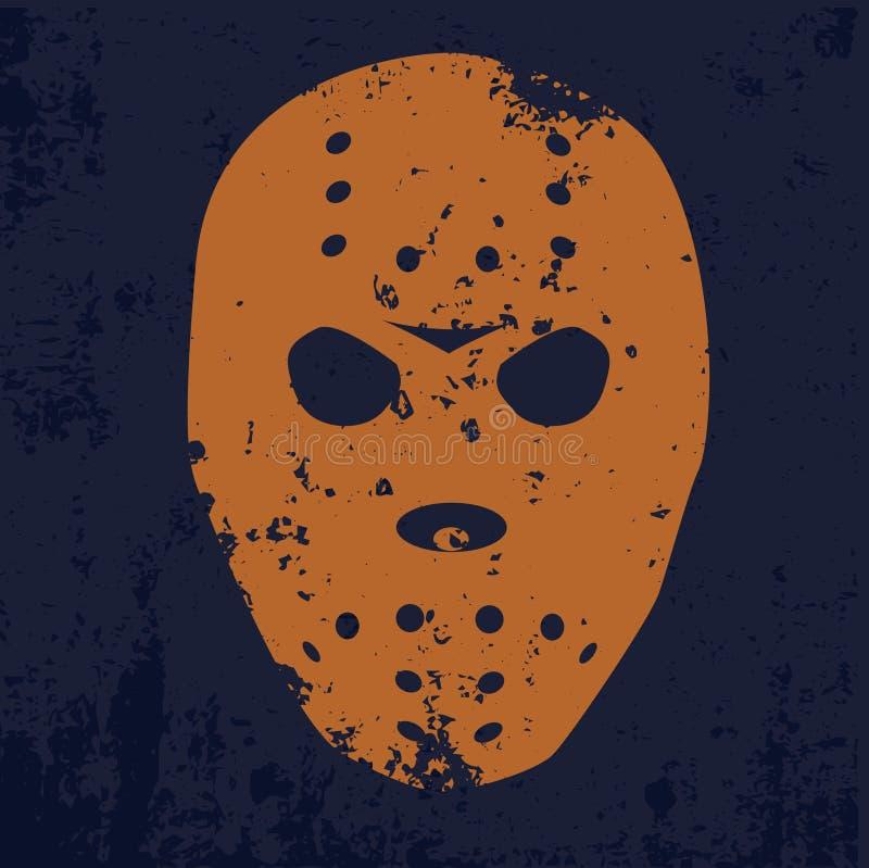 Orange hockey mask on a blue background in grunge style stock photos