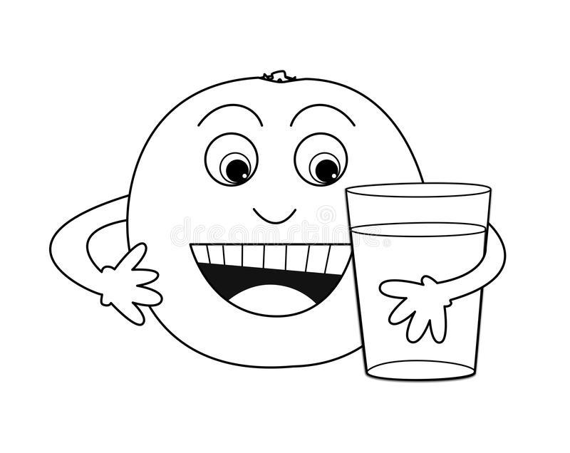 Orange holds juice Picture for coloring. In the picture is one orange. It holds a glass of juice. It is black and white, so it´s nice to paint stock illustration