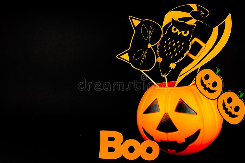Orange holiday Halloween background with Halloween props royalty free stock photo