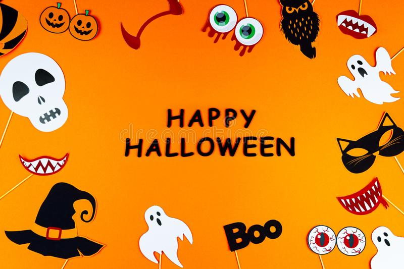 Orange holiday Halloween background with Halloween props royalty free stock images