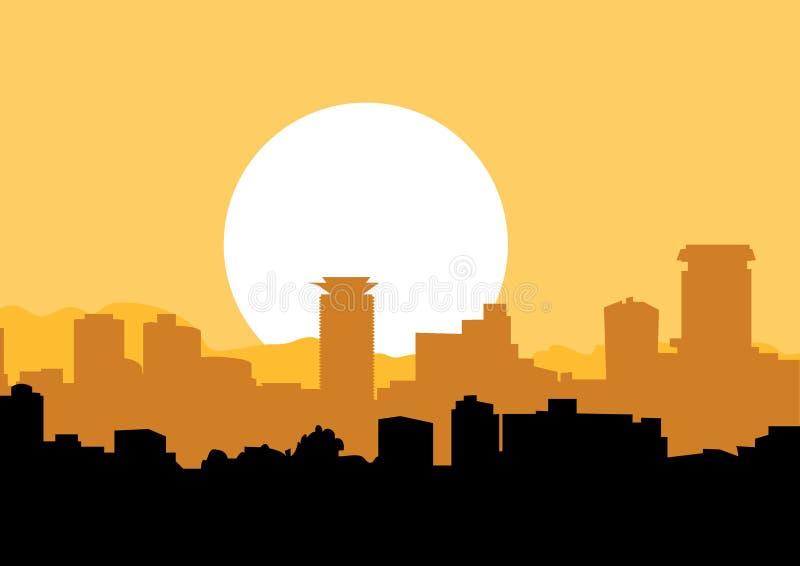 Orange horisont av den Nairobi staden royaltyfri illustrationer