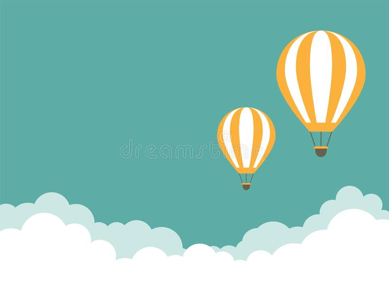 Orange hot air balloon flying in the turquoise sky with clouds. Vector background stock illustration