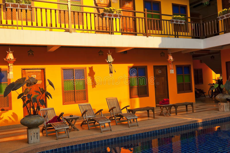 Orange Hotel With The Outdoor Pool Royalty Free Stock Image