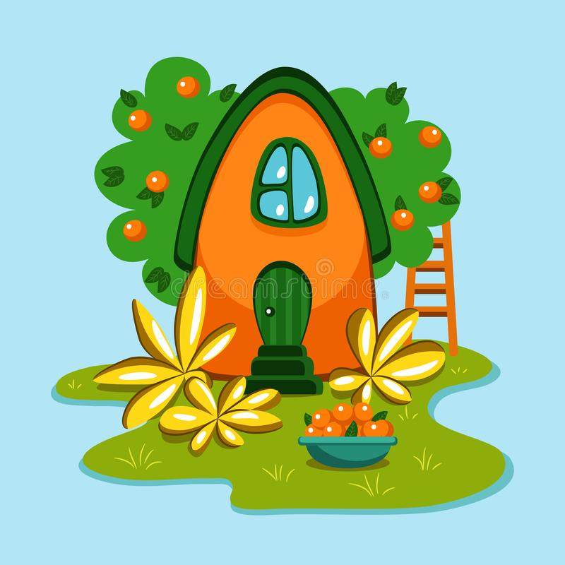 Little cute orange country house stock illustration