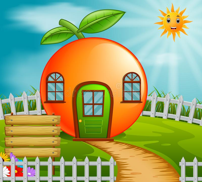 Orange house in garden vector illustration
