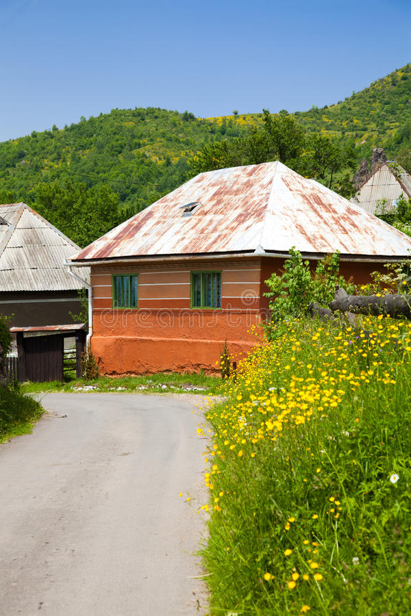 Download Orange House In A Romanian Village Stock Image - Image of romania, scenic: 15516177