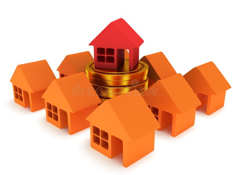 Orange houses and red one. 3d render. Orange houses and red one on stack of coins. Real estate, rent, building, out of crowd, home, mortgage, money concept. 3d vector illustration