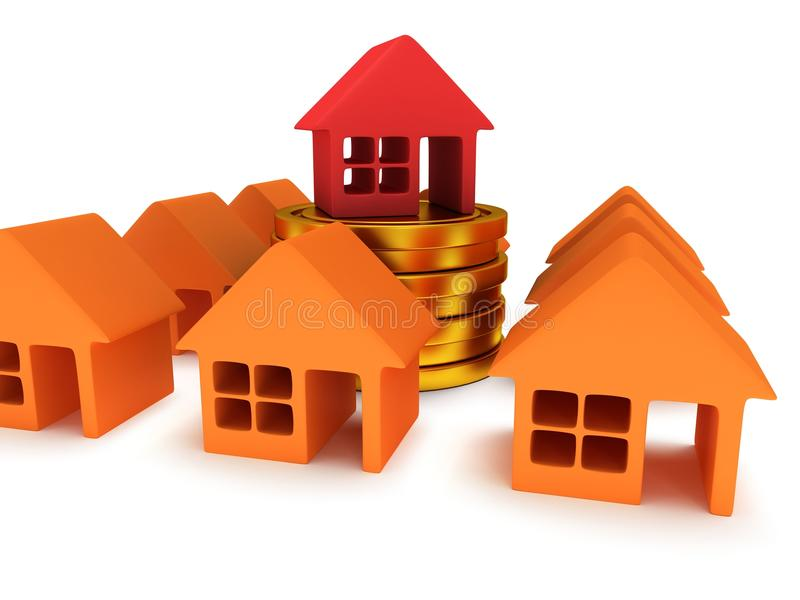 Orange houses and red one. 3d render. Orange houses and red one on stack of coins. Real estate, rent, building, out of crowd, home, mortgage, money concept. 3d stock illustration