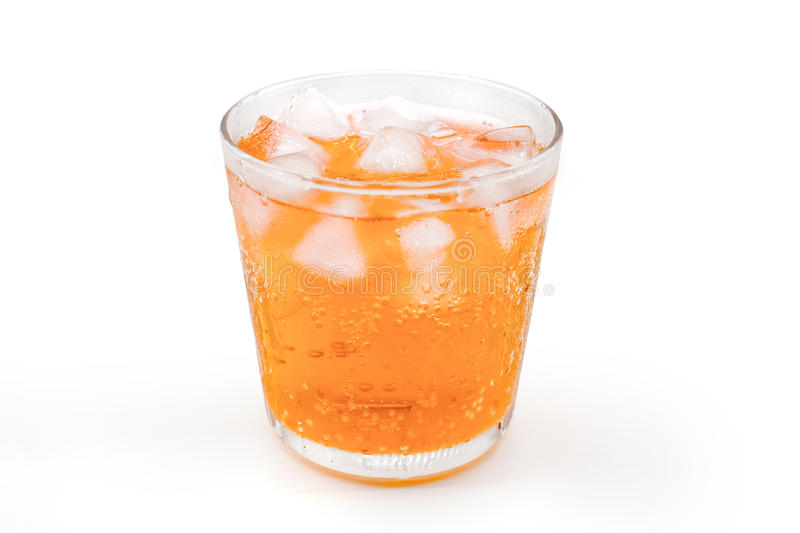 Orange with ice in glass royalty free stock photo