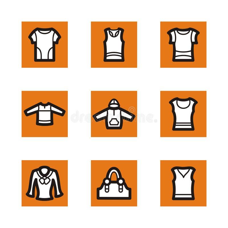 Orange Ikonenserie stock abbildung