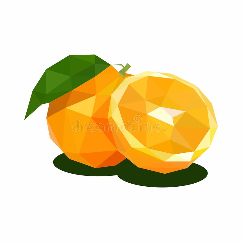Orange, Illustration of Fruit. Polygonal Art. Can be Used for reference learning for students toddlers vector illustration