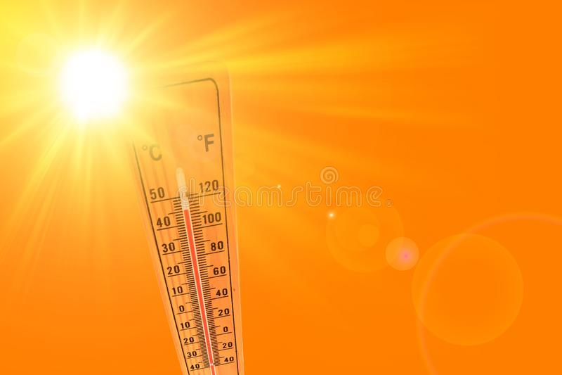 Orange illustration representing the hot summer sun and the environmental thermometer that marks a temperature of 45 degrees vector illustration