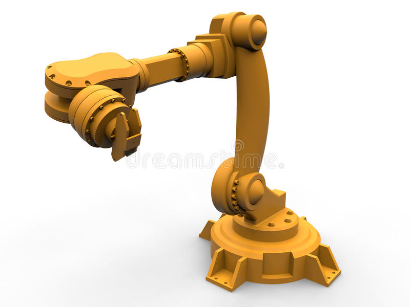 Orange industrial robotic arm isolated. 3D render illustration of an orange industrial robotic arm. The object is isolated on a white background with soft royalty free illustration