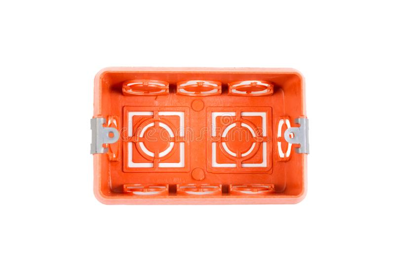 Orange Industry electrical plastic mounting / wall switch / plug sockets rectangle box. Size 2 x 4 inch for the buried in the wall isolated on white background stock images