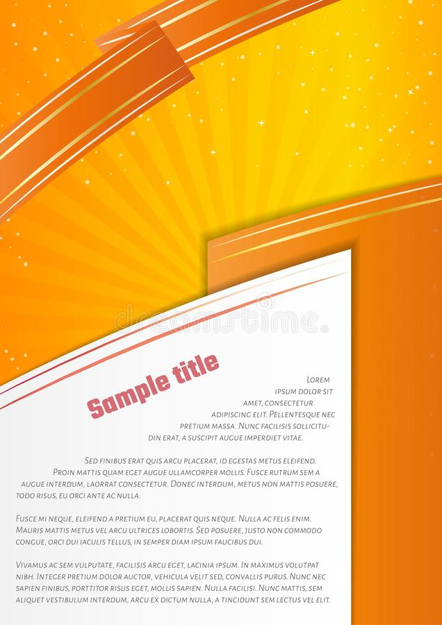 Orange infographic paper on yellow background stock illustration