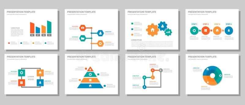 Orange infographic presentation som kan användas till mycket för röda gräsplanblått och uppsättning 2 för beståndsdellägenhetdesi stock illustrationer