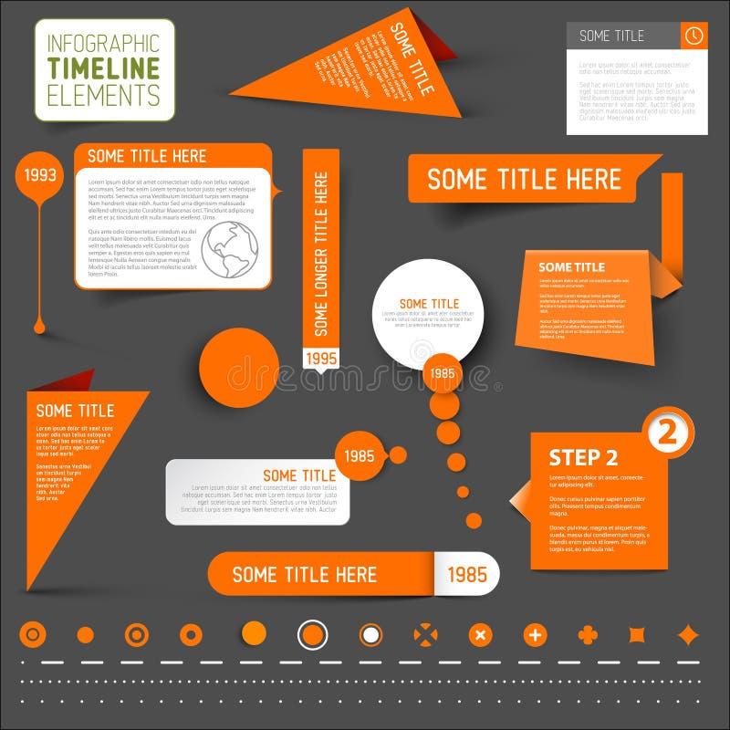Orange infographic timeline elements on dark background stock illustration