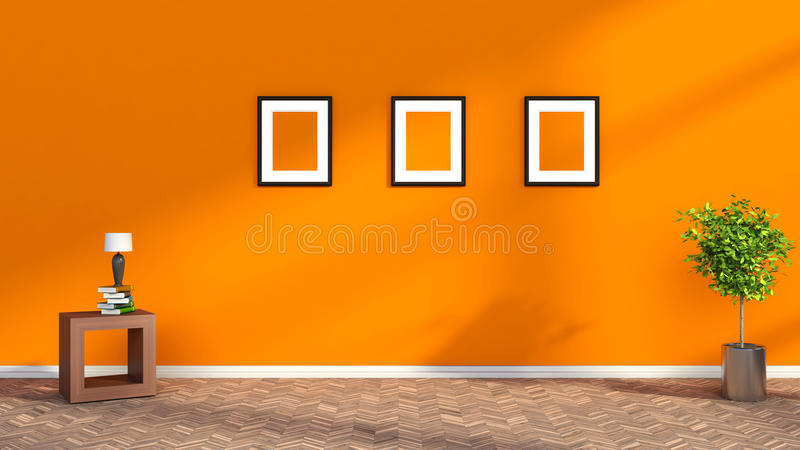 Orange interior with plant and blank picture. 3D illustration royalty free illustration