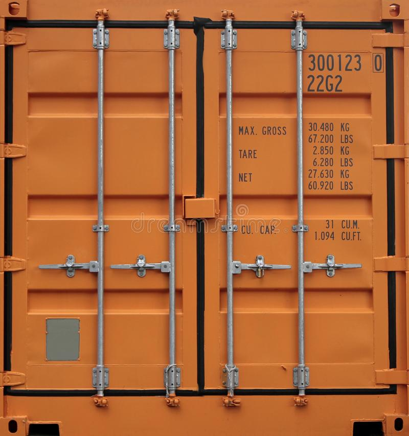 Orange iron freight container background royalty free stock images