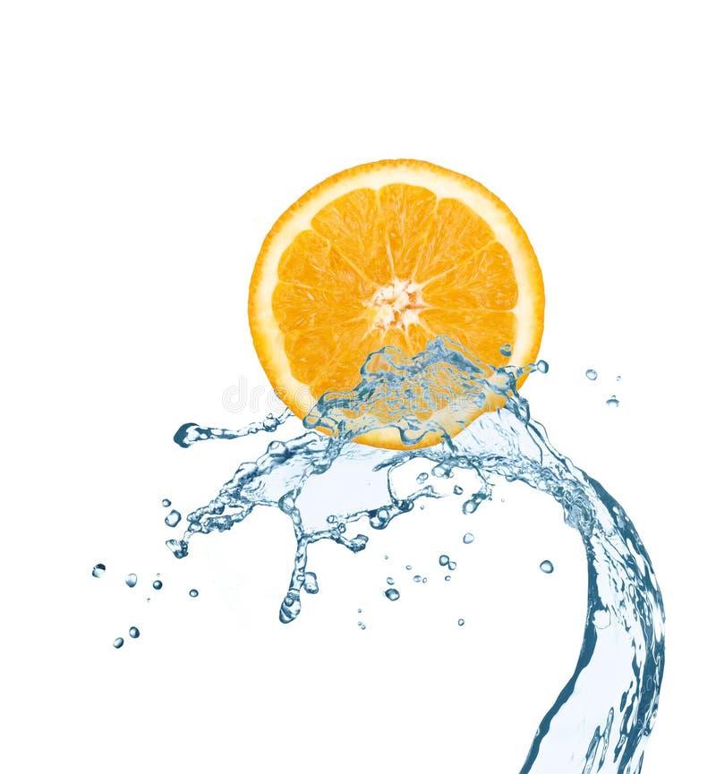 Free Orange Is Dropped Into Water Splash On White Royalty Free Stock Photos - 37908958