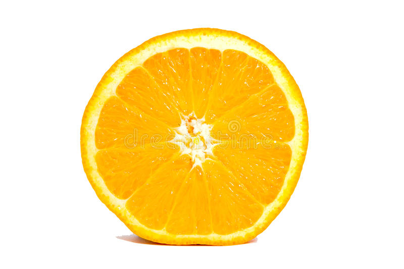 Orange isolated with no background. A cross-sectional slice, juicy royalty free stock photography
