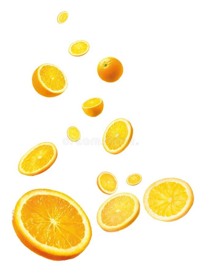 Orange. Isolated Sliced and Whole Orange in White Background royalty free stock photos