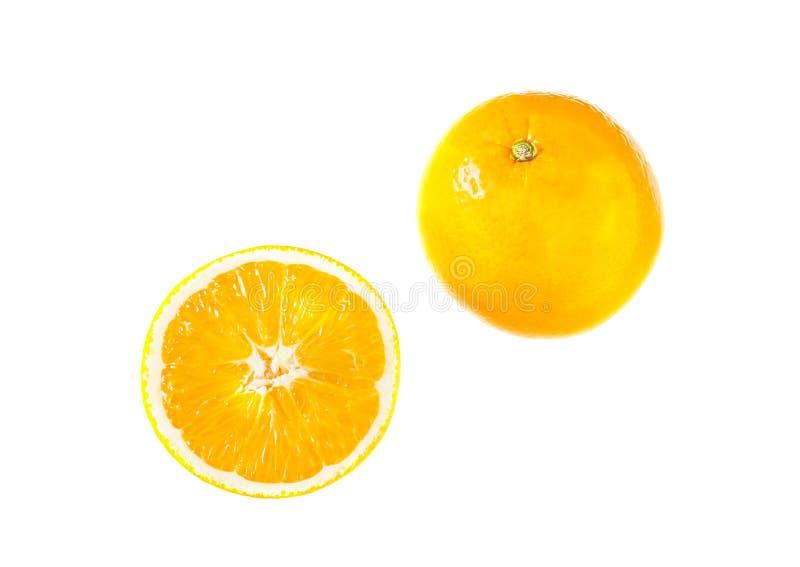 Orange isolerade frukt och skiva fotografering för bildbyråer