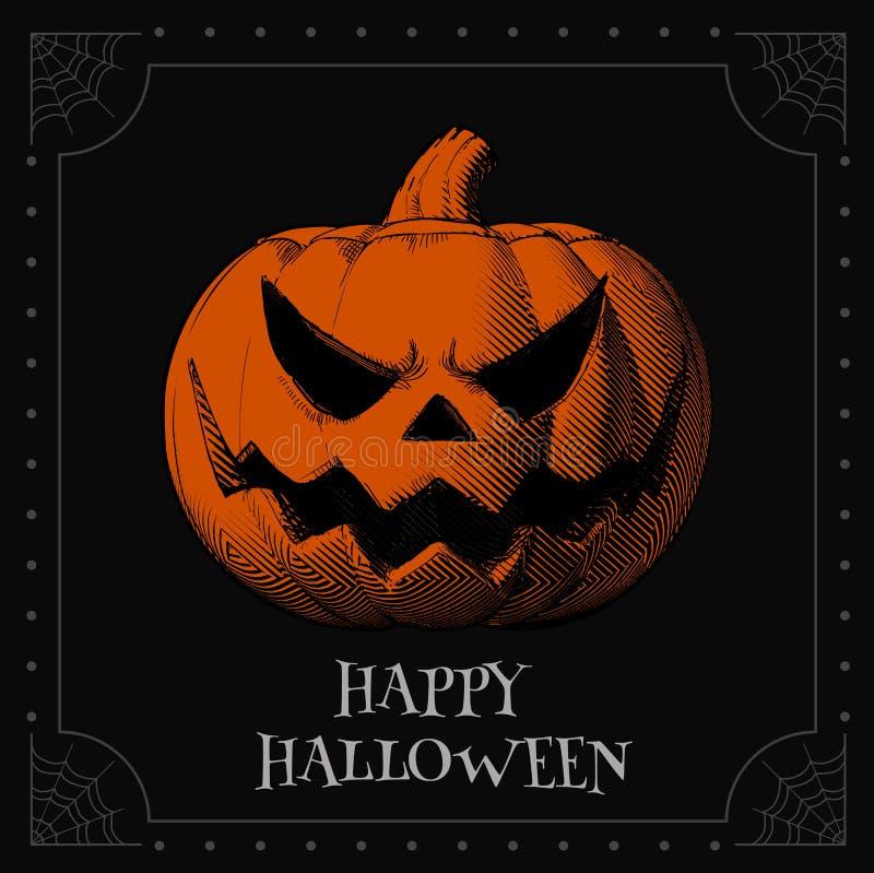 Orange jack pumpkin head on dark BG for halloween stock illustration